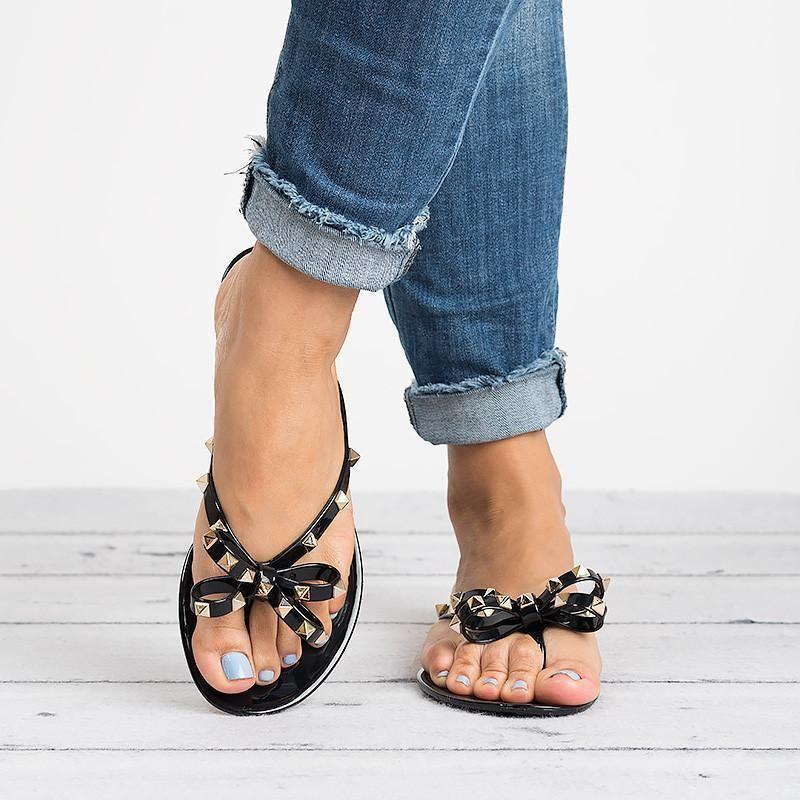 1228b7c01 Women PVC Slippers Beach Rivet Bowknot Shoes – jellynova