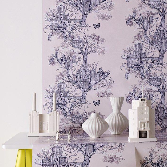 Urban Tree Lilac Wallpaper Designer Purple Wall Coverings By Graham Brown Brown Wallpaper Tree Wallpaper Discount Wallpaper
