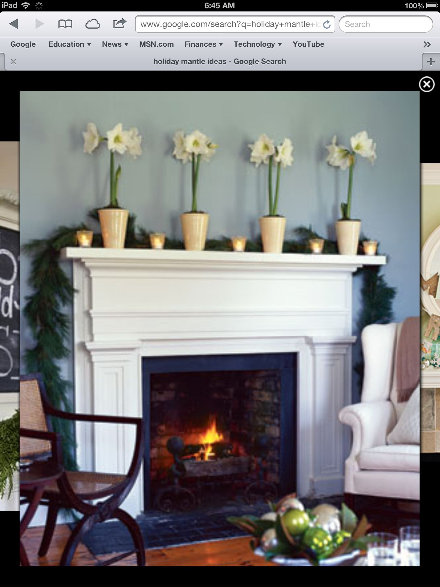 An Understated Mantel - For an elegant look, trim the mantel with a row of  white votives and dramatic white amaryllises. Amaryllis bulbs can be  repotted and ...