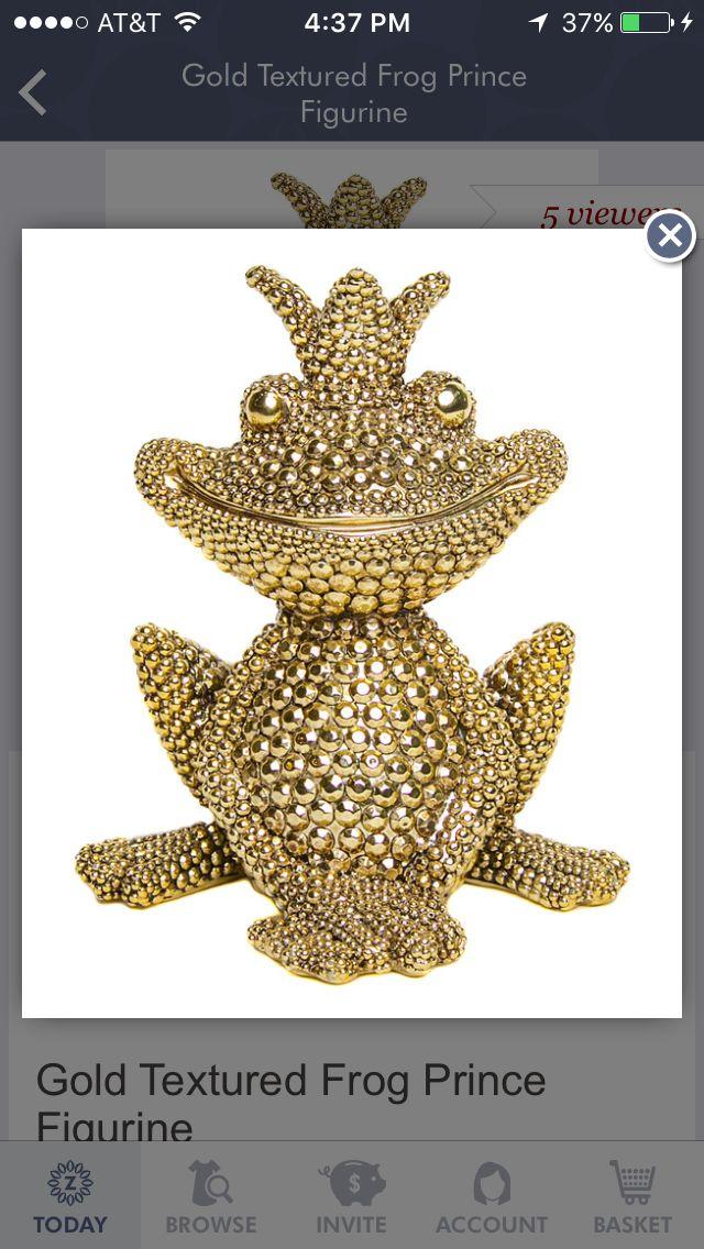 Gold frog prince figurine
