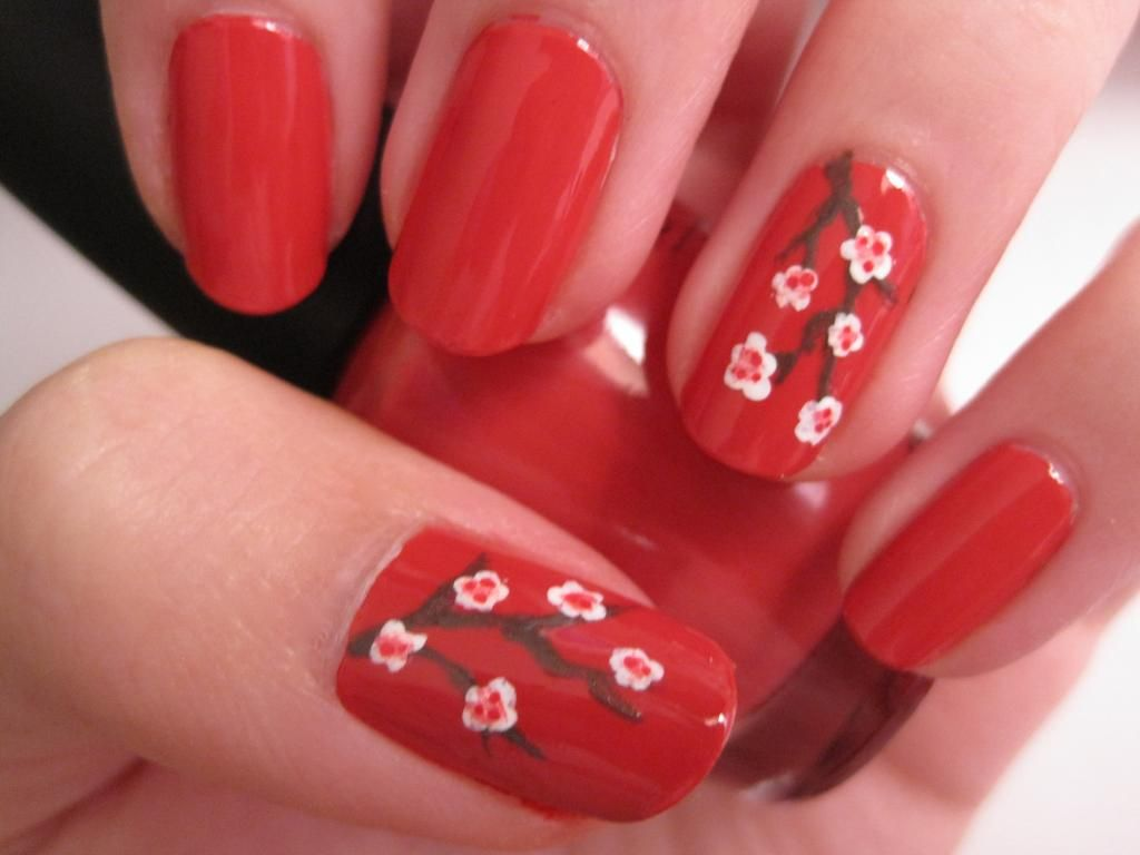 Fall Nail Design: Cherry Blossoms!