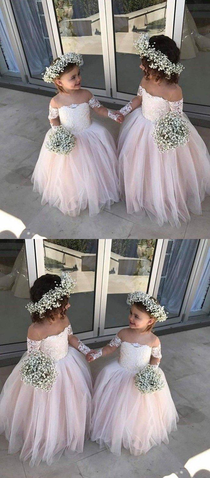 Pink offtheshoulder lace flower girl dresses cheap toddler flower