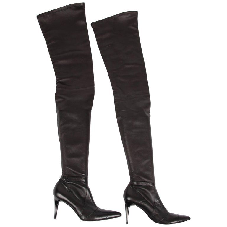 6b0201cb7be5 Chanel Lambskin Leather Thigh High Boots - black