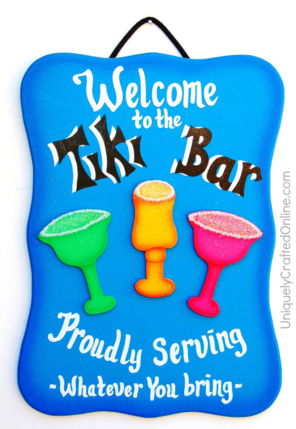 funny wood bar sign welcome to the tiki by uniquelycraftedsigns