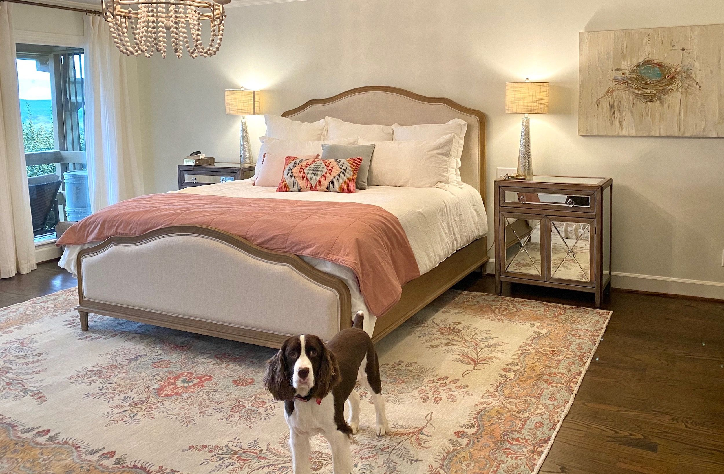 Our unique Old Persian Tabriz Oriental Rug offers a balance of light and color to this Master Bedroom Retreat! 🤗  #masterbedroomrug #budgetwasmet #happycustomer  #nilipourorientalrugs #familybusiness #fullservice #since1972  #orientalrug #Tabrizorientalrug #subtledesign #mutedcolors #artyoucantreadon #arearug #rug #atyourservice #shoplocal #traditionalrug #oversizerug #vintagerug #rugcleaning #rugrepairing #orientalrugcleaning #orientalrugrepairing #wholesaleprices #qualityrug #directimporting