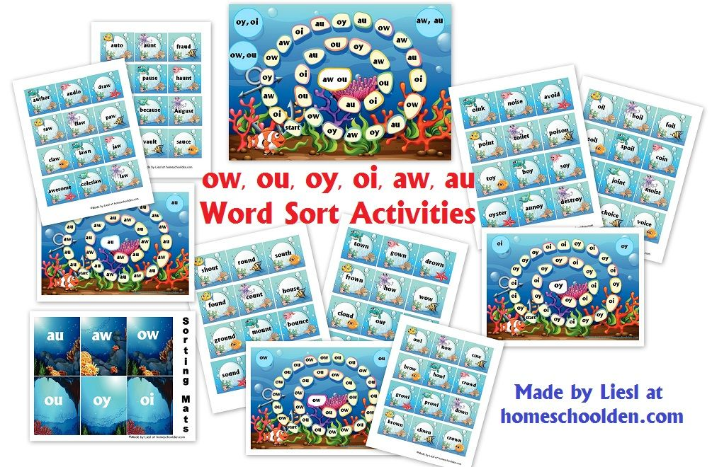 FREE Word Sort Activity Packet for the Vowel Patterns (ow