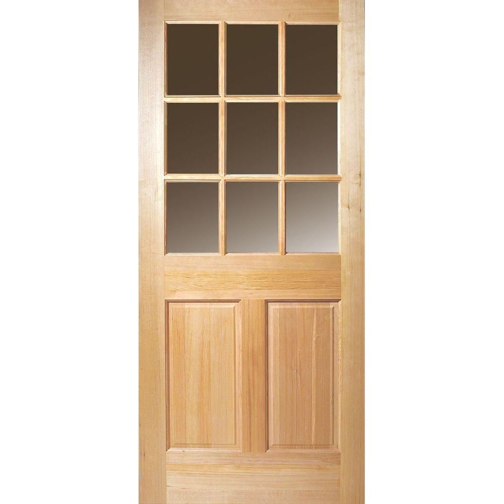 Masonite 36 In X 80 In 9 Lite Unfinished Fir Front Door Slab 87315 The Home Depot Wood Exterior Door Solid Wood Doors Exterior Entry Doors