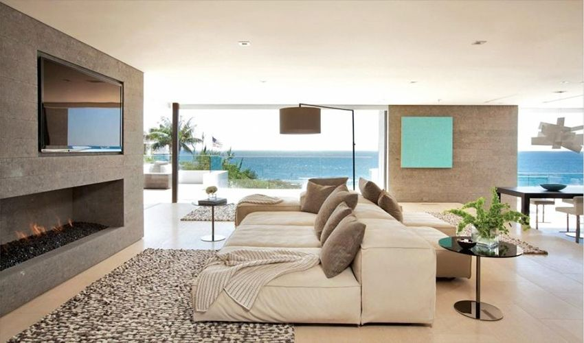 Modern Beach House Interior Design For Living Room With
