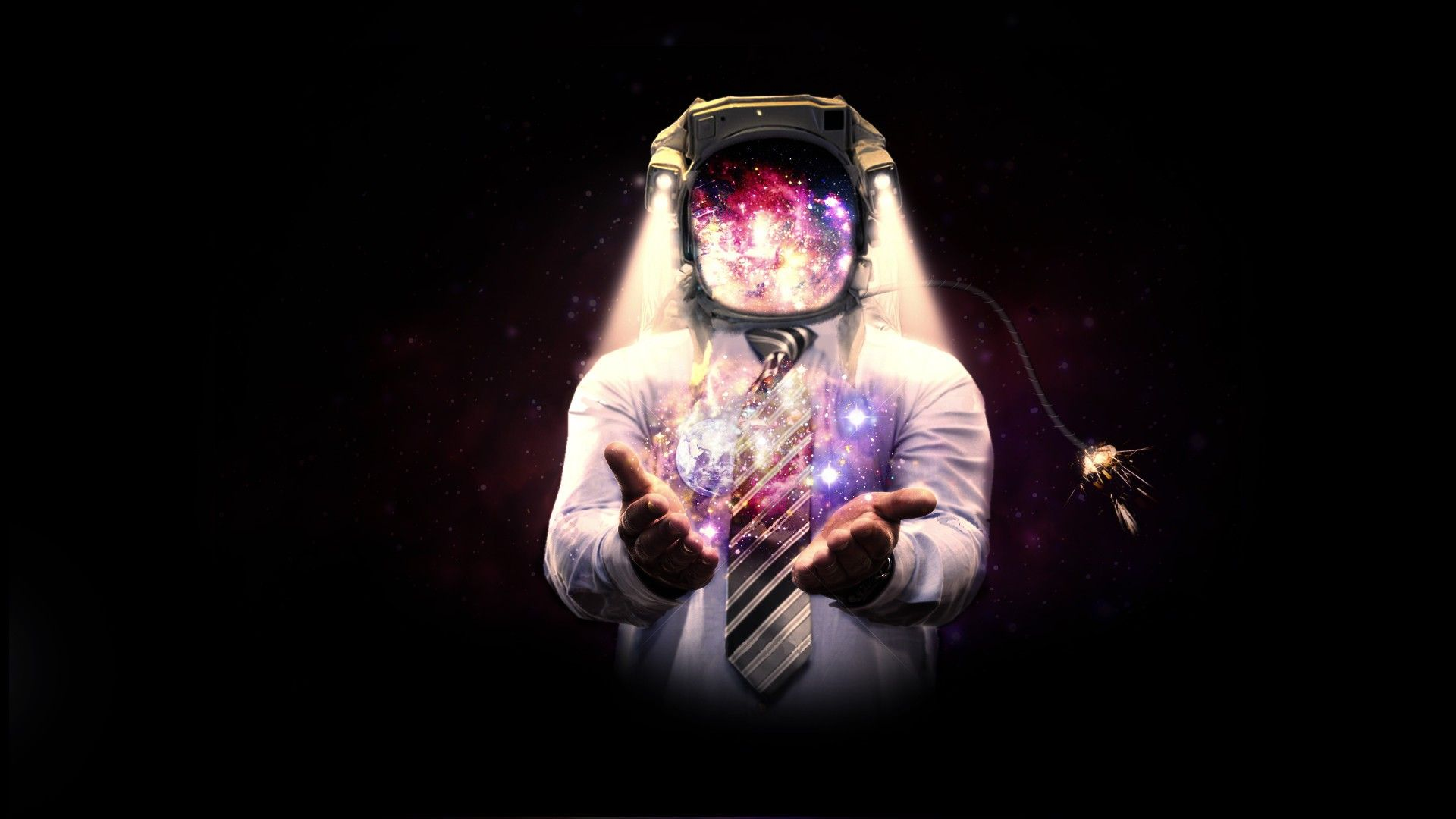 Outer Space Hands Tie Astronauts Sparks Artwork 1920x1080