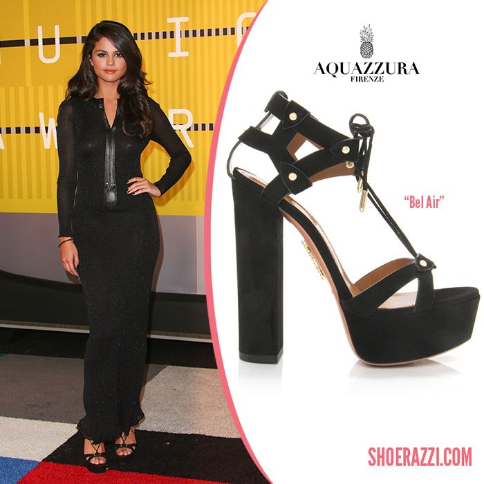 Selena Gomez in Aquazzura Pre-Fall 2015 'Bel Air' Black Suede Platform Sandals - ShoeRazzi
