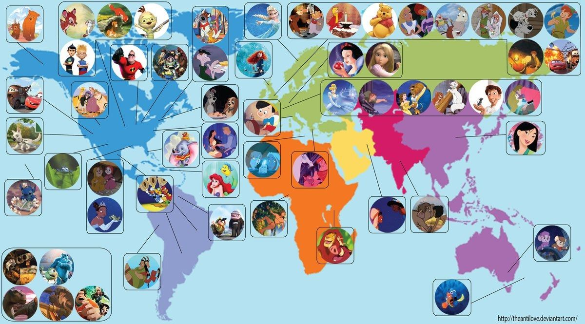 52 disney animated movie locations mapped around the world pixar disney map by theantilove on deviantart places disney movies onto the world map based on the movies setting or location gumiabroncs Images