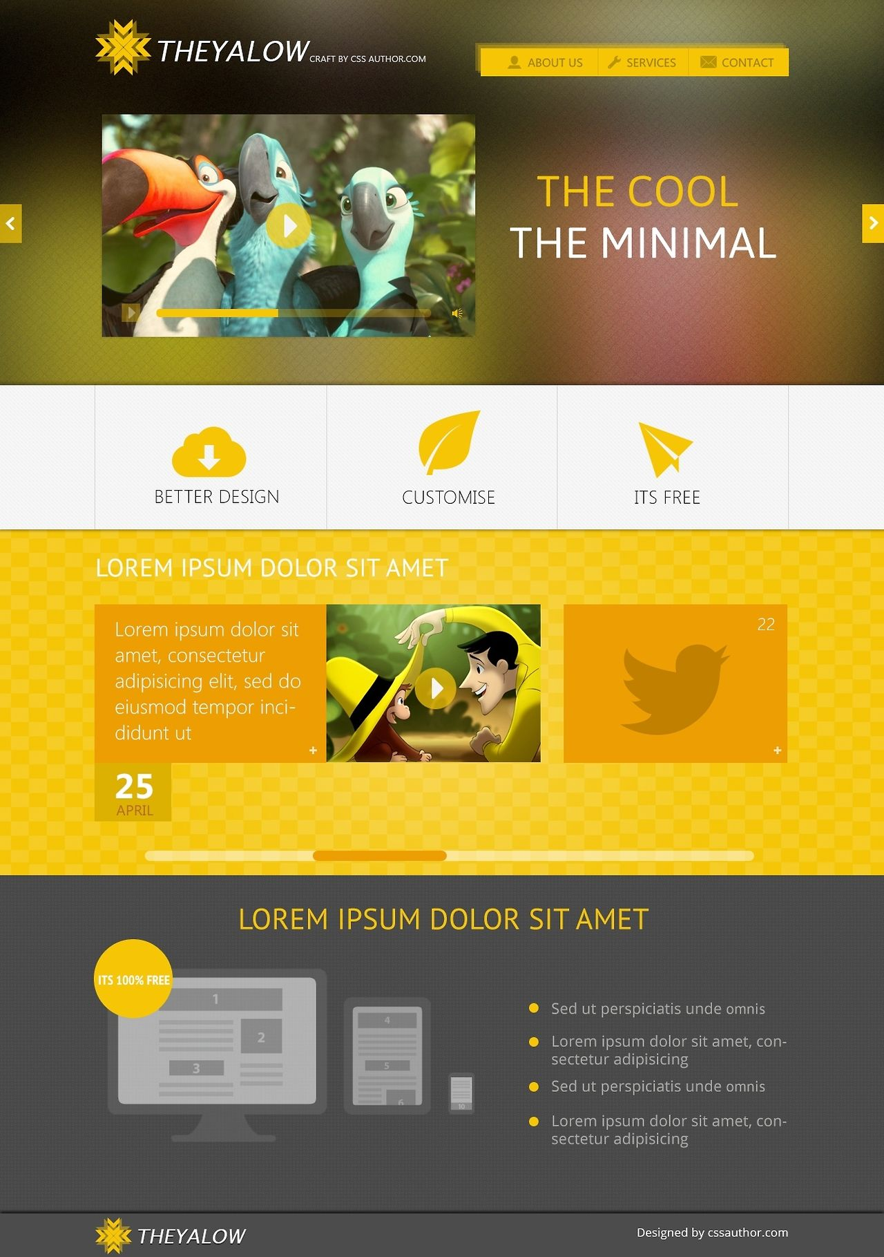 Theyalow A Responsive Web Design Psd Template Free Psd Templates