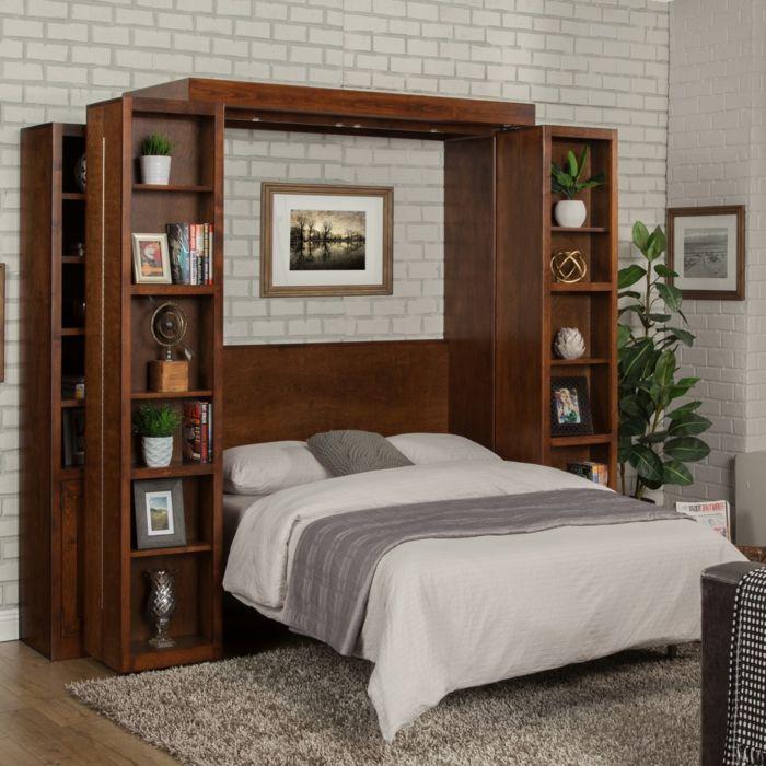 decoracion dormitorios, dormitorio pequeño, pared de ladrillo blanco