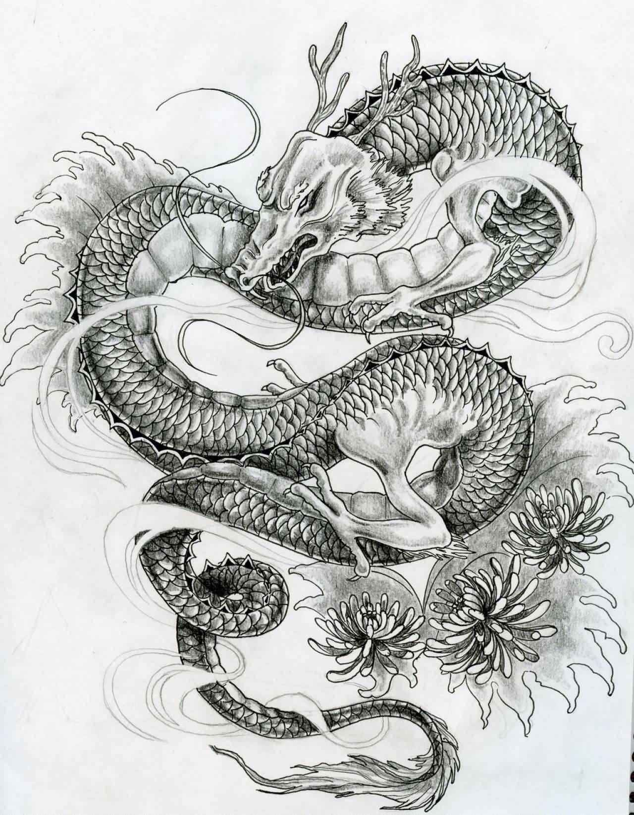 Latest Black Ink Japanese Dragon Tattoo Design By Elyspencer In 2020 Japanese Dragon Tattoos 3d Dragon Tattoo Dragon Tattoo Designs