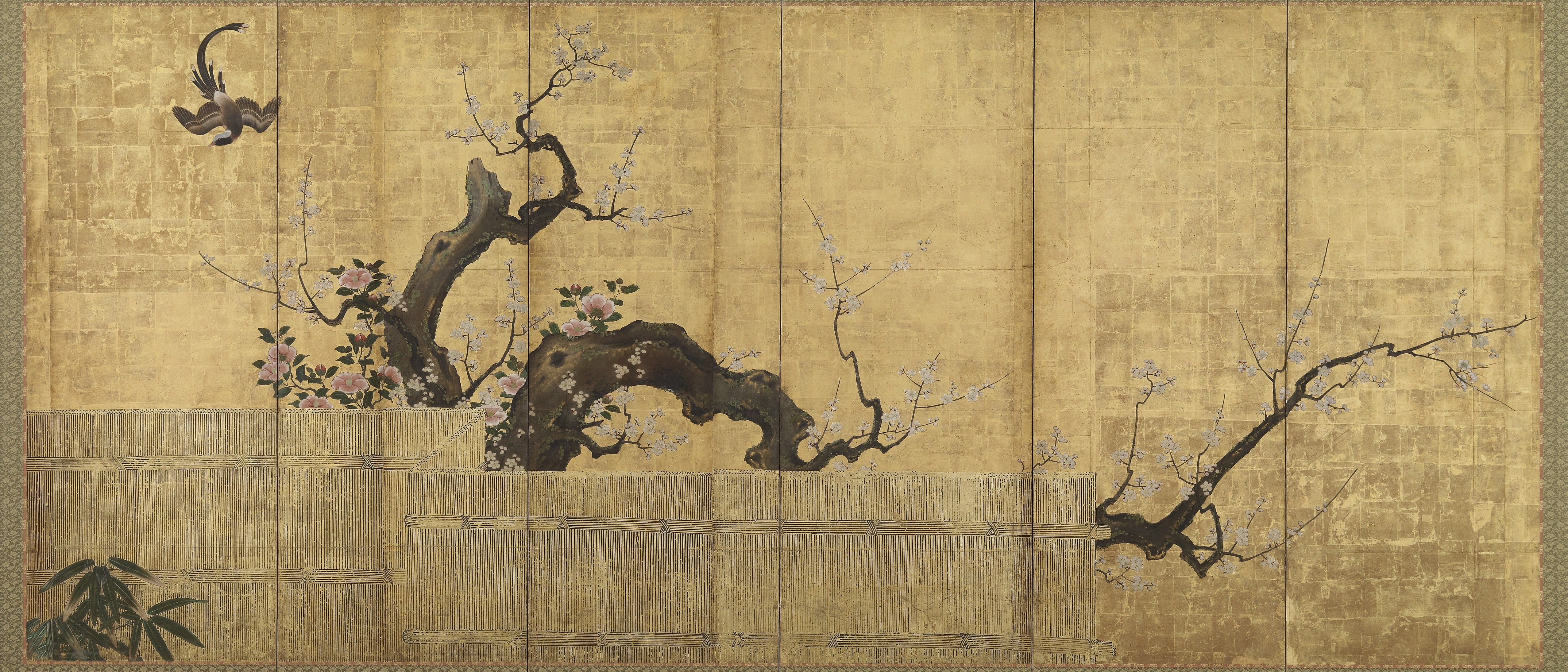 Blossoming Plum and Camellia in a Garden; Kano Kōi (d. 1636); Japan ...