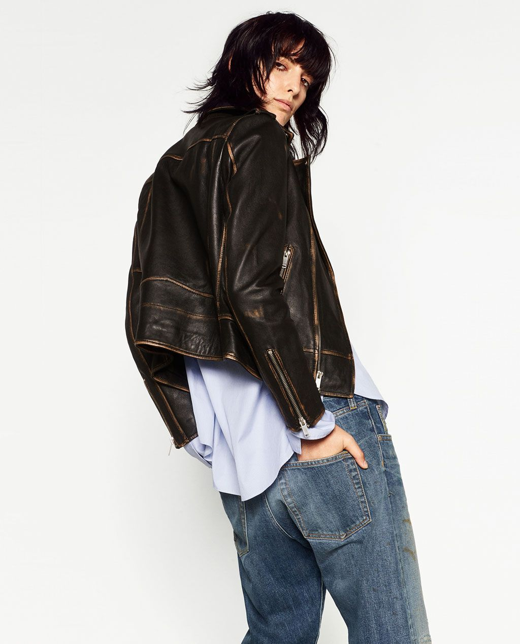 Image 4 of DISTRESSED LEATHER JACKET from Zara (mit