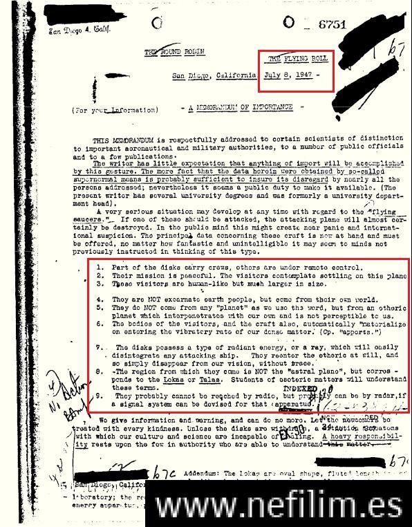 Documento desclasificado del FBI confirma presencia de naves extraterrestres y sus tripulantes