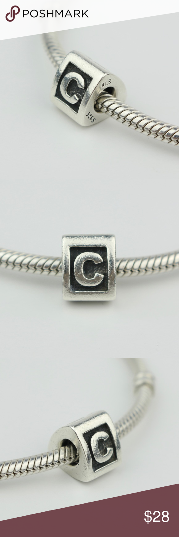 Authentic Pandora Sterling Silver Letter C Charm Sterling Silver Pandora Jewelry Bracelets Silver