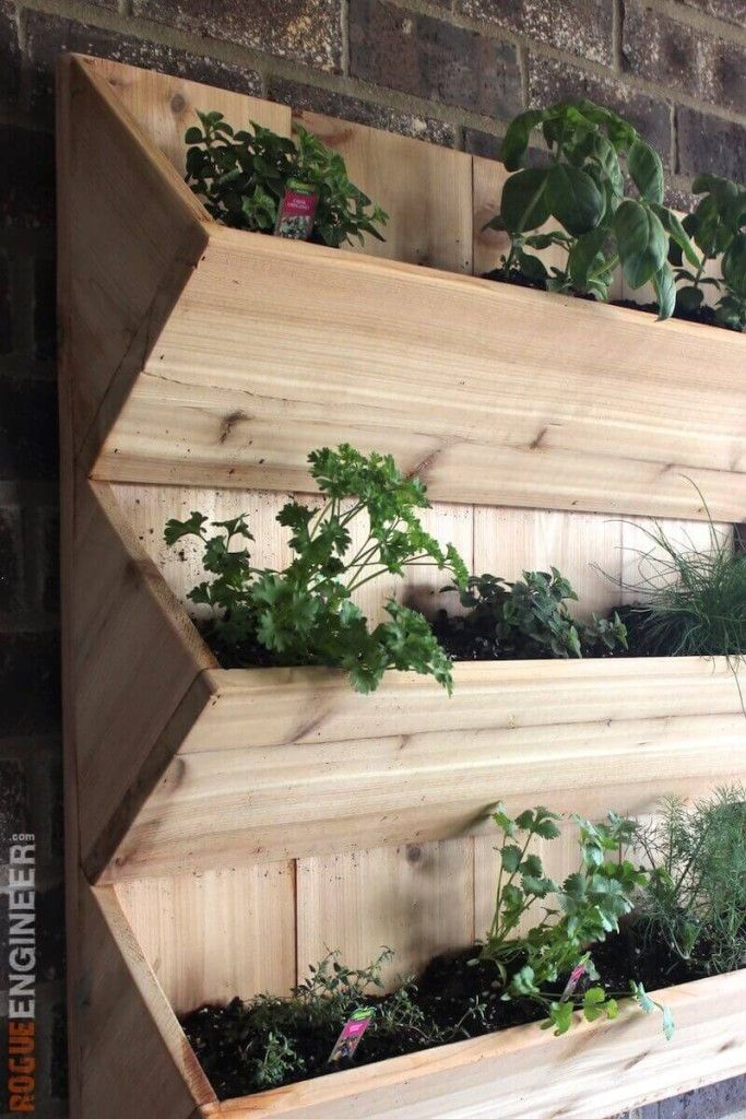 Cedar Wall Planter With Images Herb