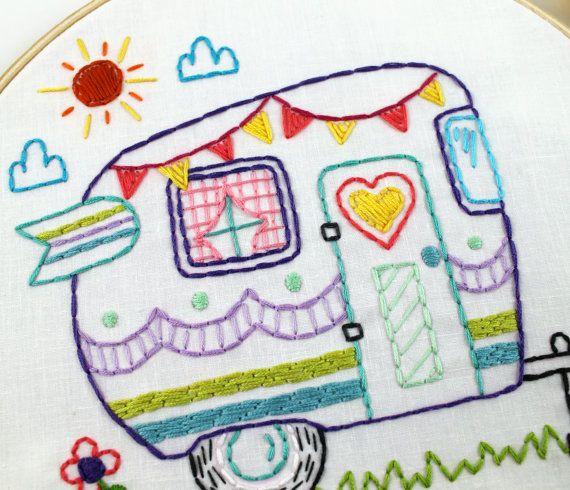Camper retro verano Campamento viaje mano bordado por lovahandmade
