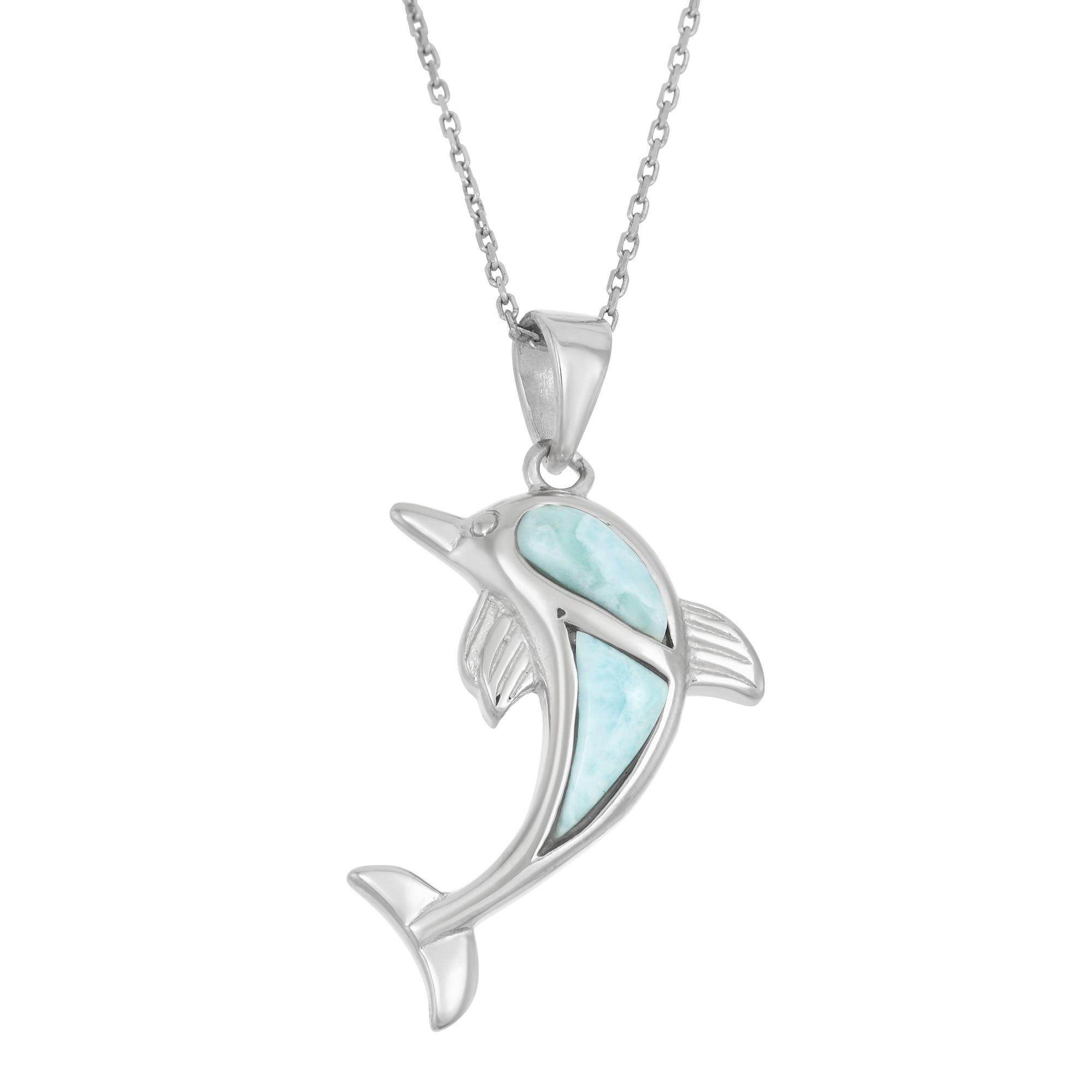 Oxford Diamond Co Sterling Silver Natural Larimar Dolphin Charm Pendant