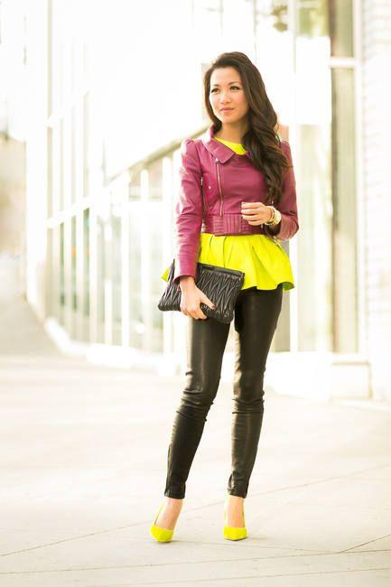 a99a26a3b26a2 Happy   Neon Silk   Raspberry Cropped Jacket  Winter Urban Chic Look   Wendy s Lookbook Women It Girl  Rasberry cropped biker jacket  Crew-Neck  Peplum Top ...