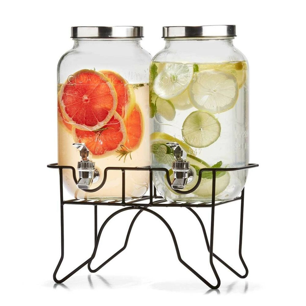 Dual Drink Dispenser Stand 3 5l Beverage Tap Water Juice Glass Jar Wedding Party Drink Dispenser Drink Dispenser Stand Pantry Containers