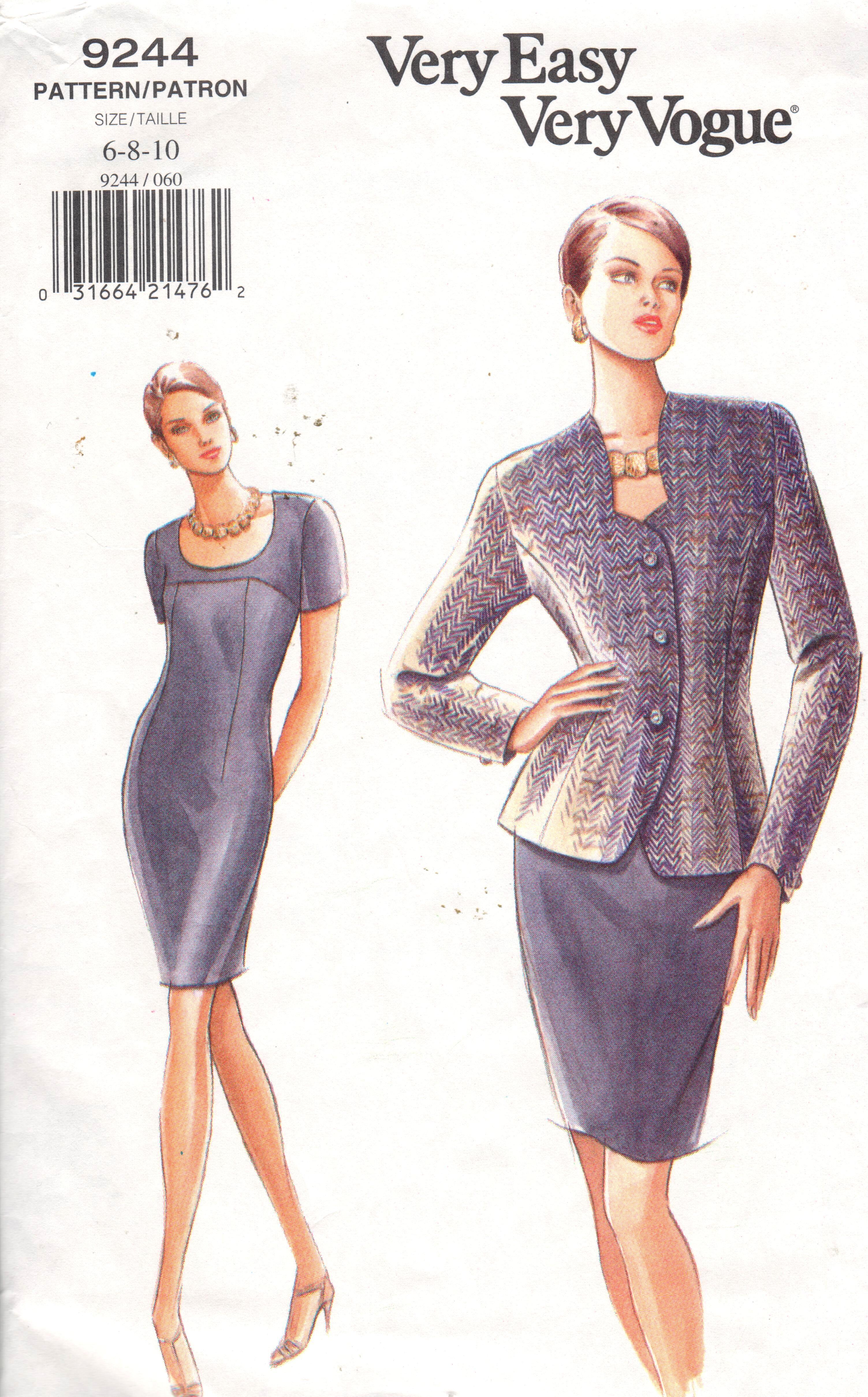 ON SALE*** Vintage 90s Vogue 9244 has unique Sweetheart neckline on ...
