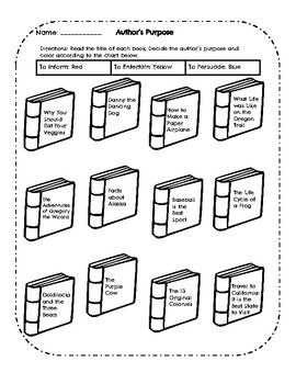 Author S Purpose Worksheet Inform Entertain Persuade With