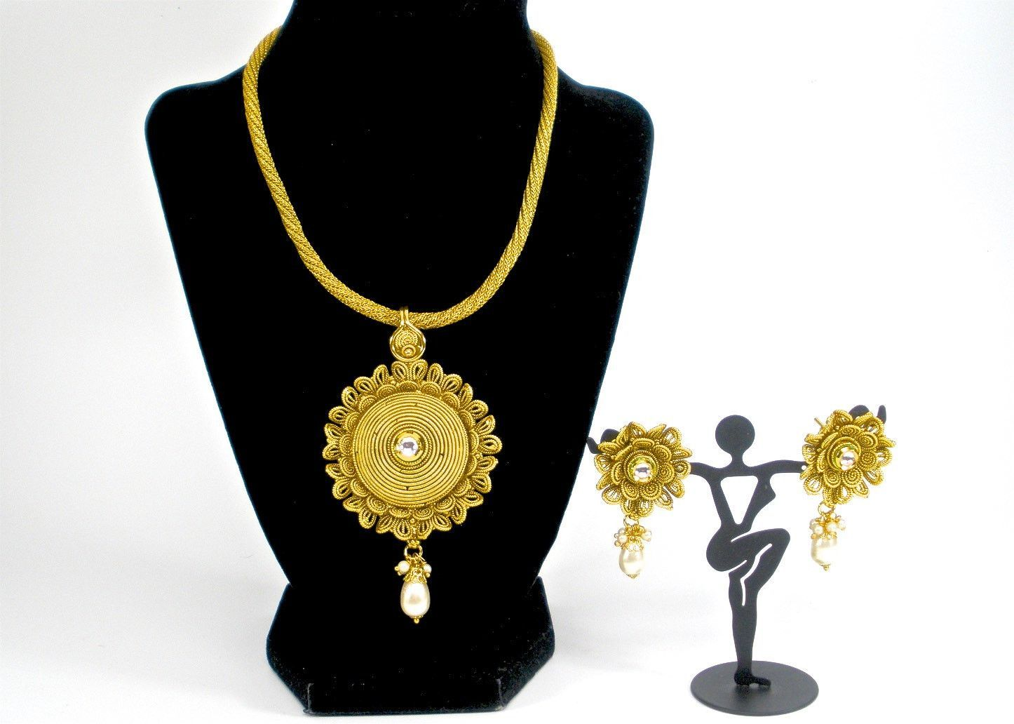 Gold finish flower pendant set products pinterest pendant set
