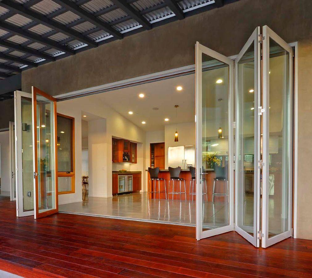 Wood Aluminium Fold And Slide Patio Door Lacantina Doors Outdoors