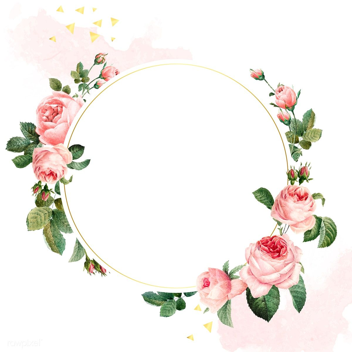 Blank round pink roses frame vector on white and pink