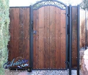 Privacy Path Gate Wrought Iron With Wood Slats Thompson Metal Works Wood Gate Wrought Iron Fences Metal Garden Gates