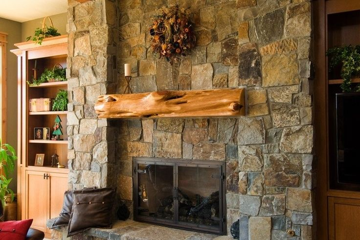 Rustic Stone Fireplaces Large Stone Fireplace With Rustic Log