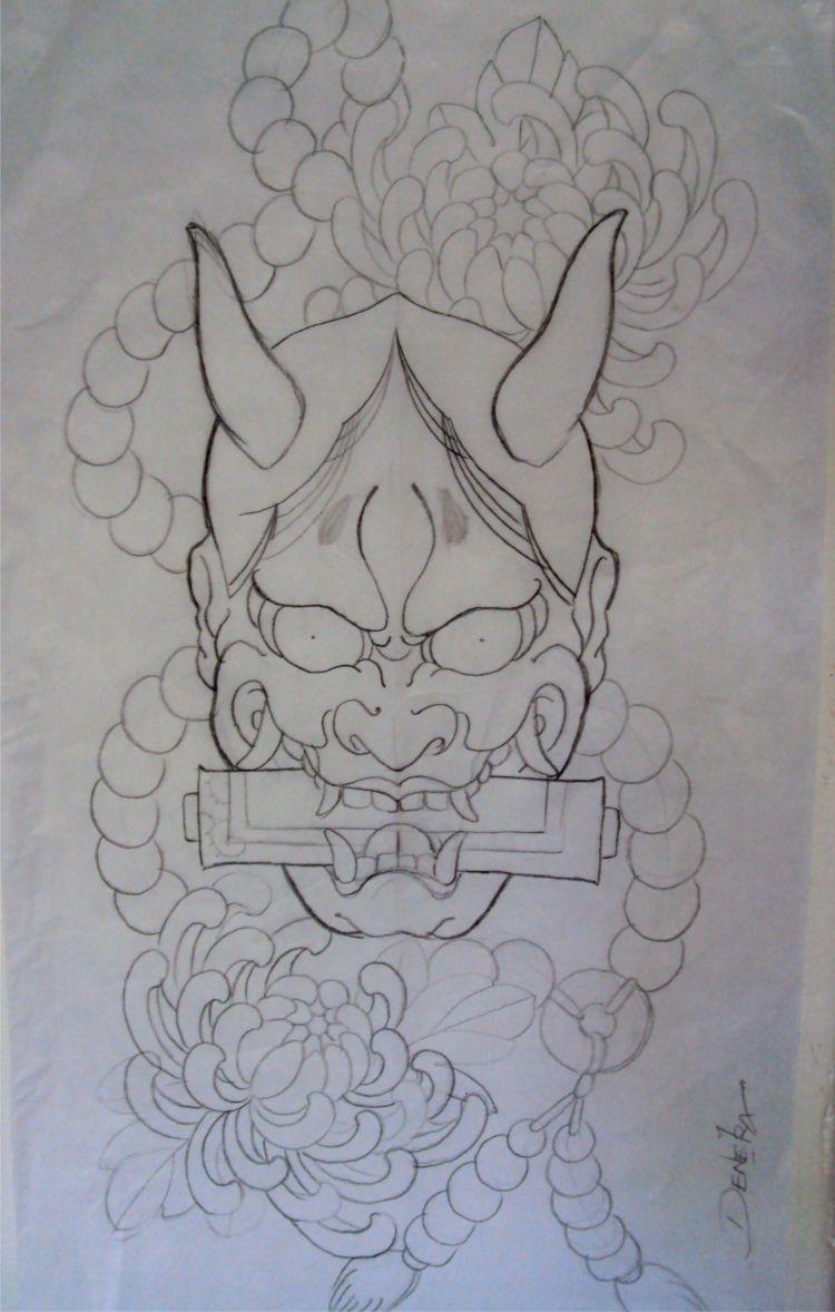 Traditional Japanese Mask Tattoo Tat Tu Pinterest