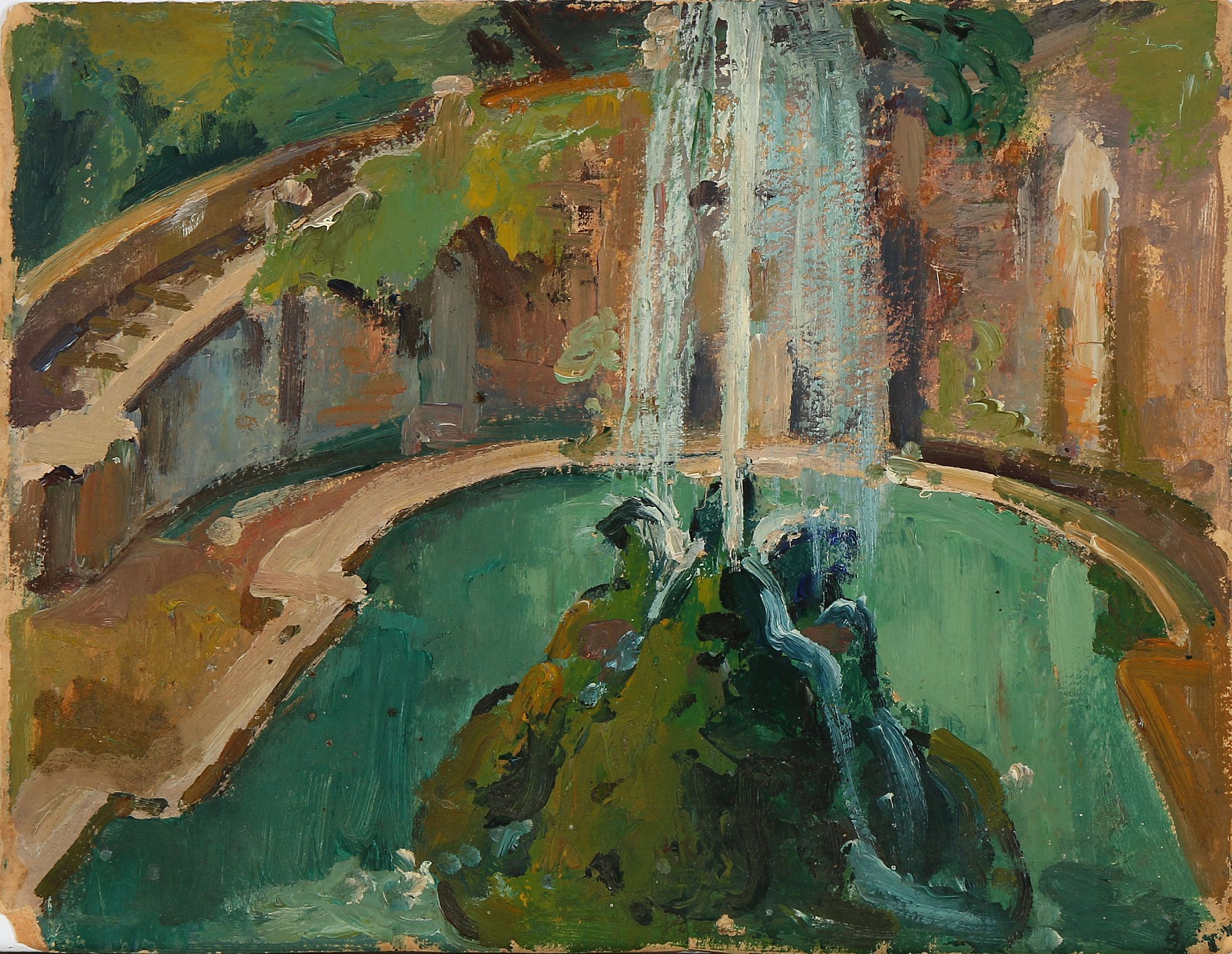 Einar Wegener Studies From A Park With Fountain Unsigned Oil On Cardboard 27 36 Cm