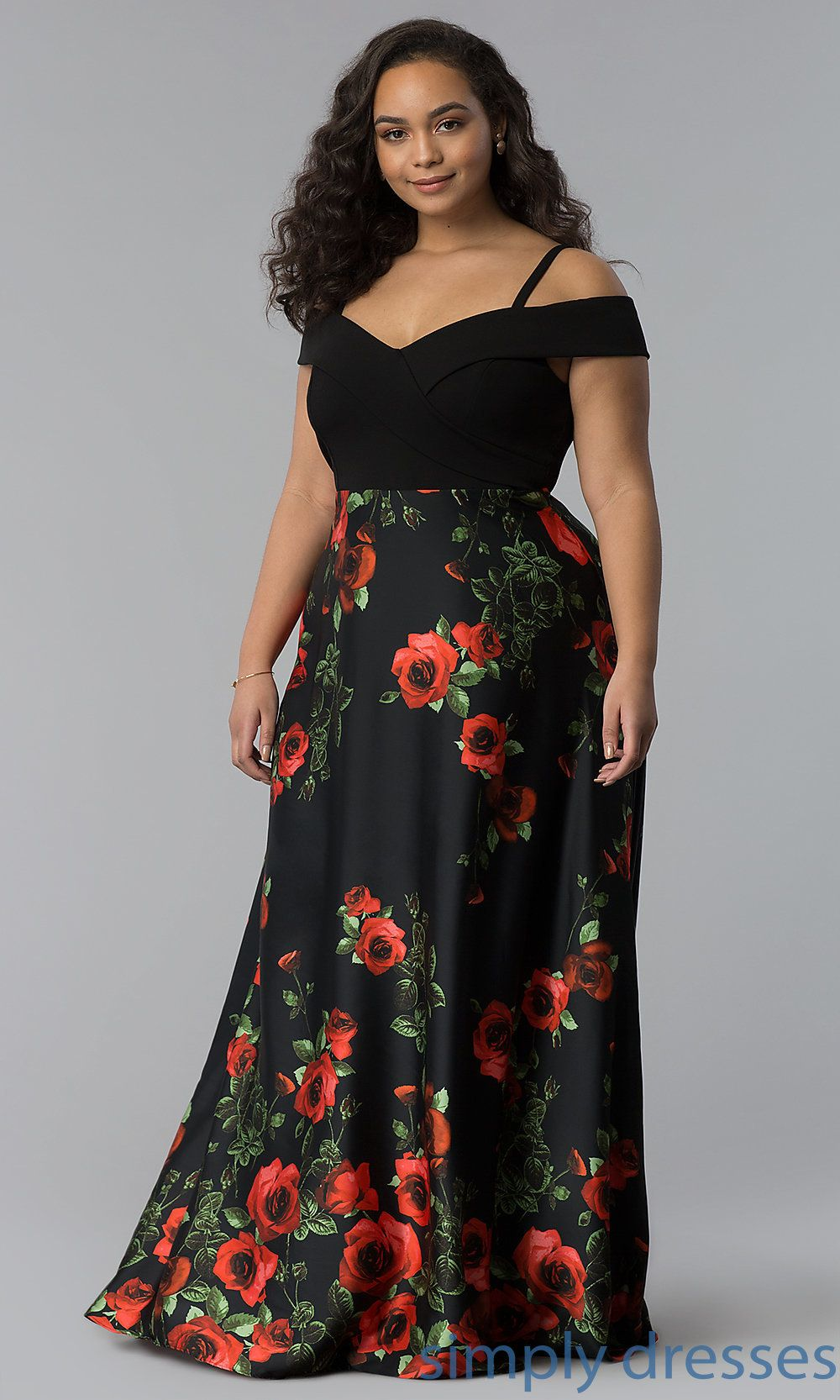 732b5f127ac Shop long plus-size prom dresses with floral-print skirts at Simply Dresses.  Plus-size satin formal evening dresses under  150 with off-the-shoulder ...