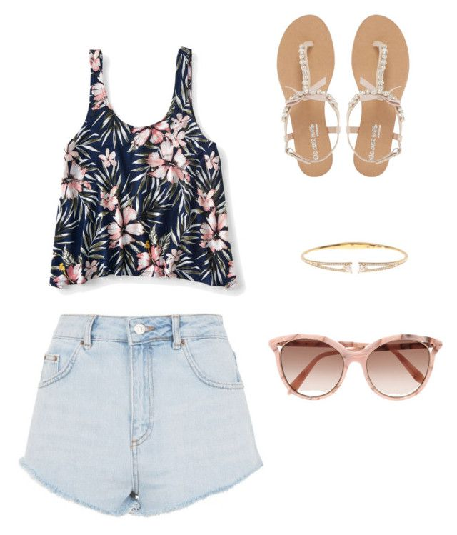 """""""Daytime summer"""" by callie-storrs ❤ liked on Polyvore featuring Aéropostale, Topshop, Head Over Heels by Dune, Nadri and Victoria Beckham"""