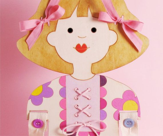 Lacing Small Motors Practice Wooden Doll Toy by karnidesign