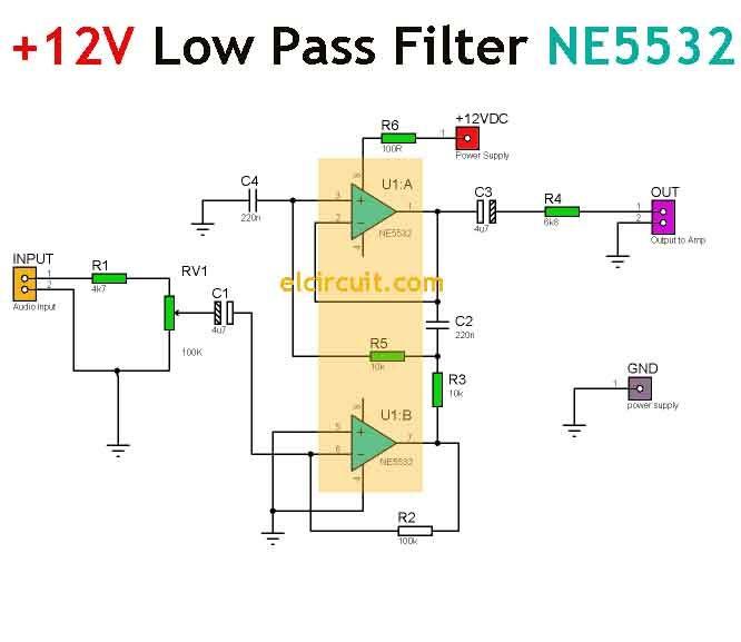 Simple 12V Low Pass Filter NE5532