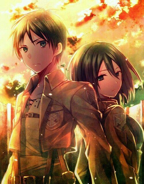 Shingeki No Kyojin Eren And Mikasa Wallpaper Attack On Titan Anime Attack On Titan Eren Eren And Mikasa