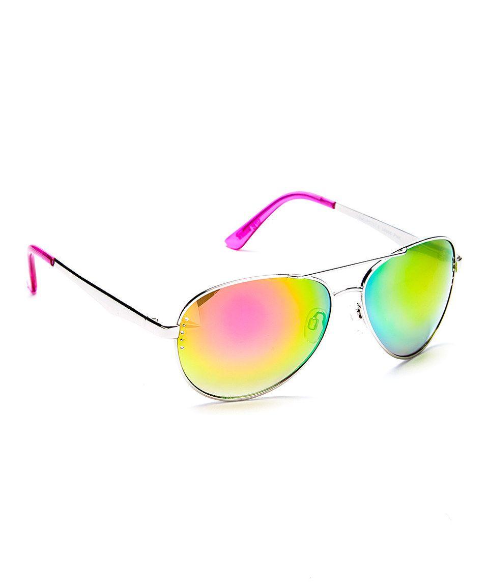d2fa90813f Another great find on  zulily! Steve Madden Silvertone   Pink Mirror  Aviator Sunglasses by Steve Madden  zulilyfinds