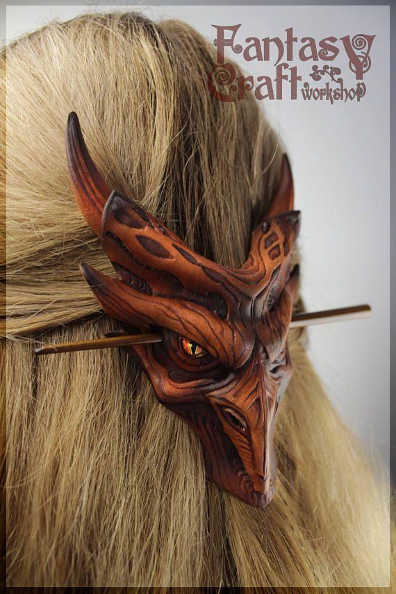 Dragon Hair Pin Fantasy Hair Clip Dragon Hair Stick Leather Etsy Leather Hair Accessories Hair Clips Cosplay Hair Accessories