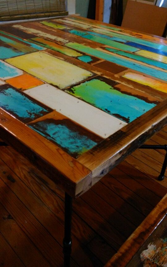 Colorful dining table, pub table, bistro table, bench, hand made ...