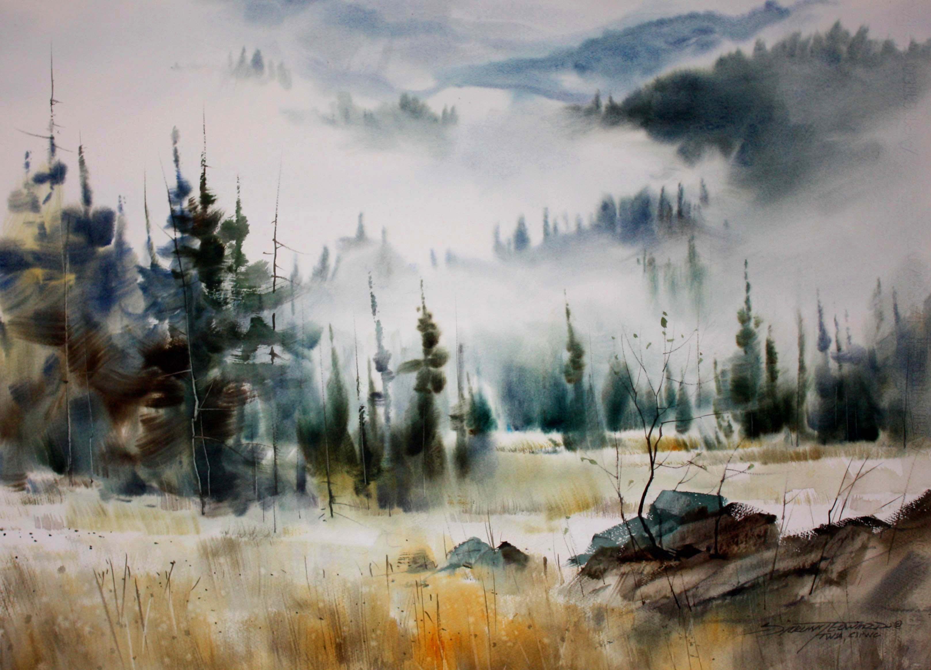 Sterling Edwards Watercolor Landschaft Wald Stein Nebel Tanne