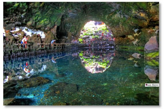 LOS JAMEOS DEL AGUA. Partially collapsed lava tube and cave system complete with concert hall, underground pond, and unique albino crabs.