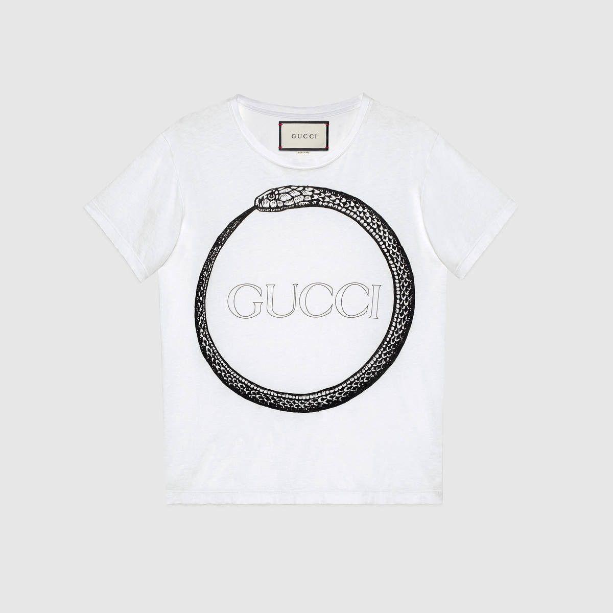 41162144 GUCCI Gucci ouroboros print t-shirt - ouroboros white cotton. #gucci #cloth  #