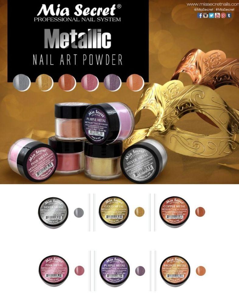 6 PC Mia Secret Acrylic METALLIC Nail Art Powder Collection MADE USA ...