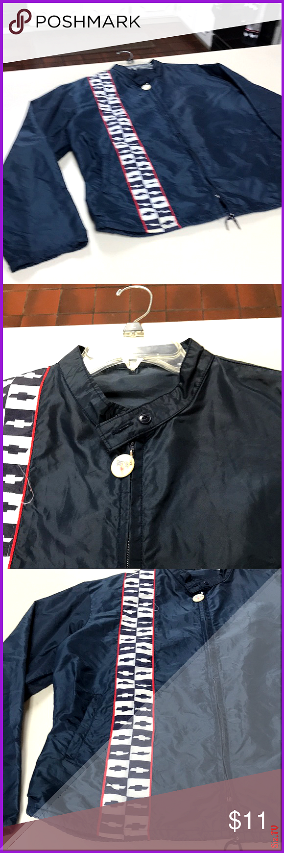 Chevy windbreaker No holes or tears Has an orange spot on left elbow No tags or size listed I  m gu