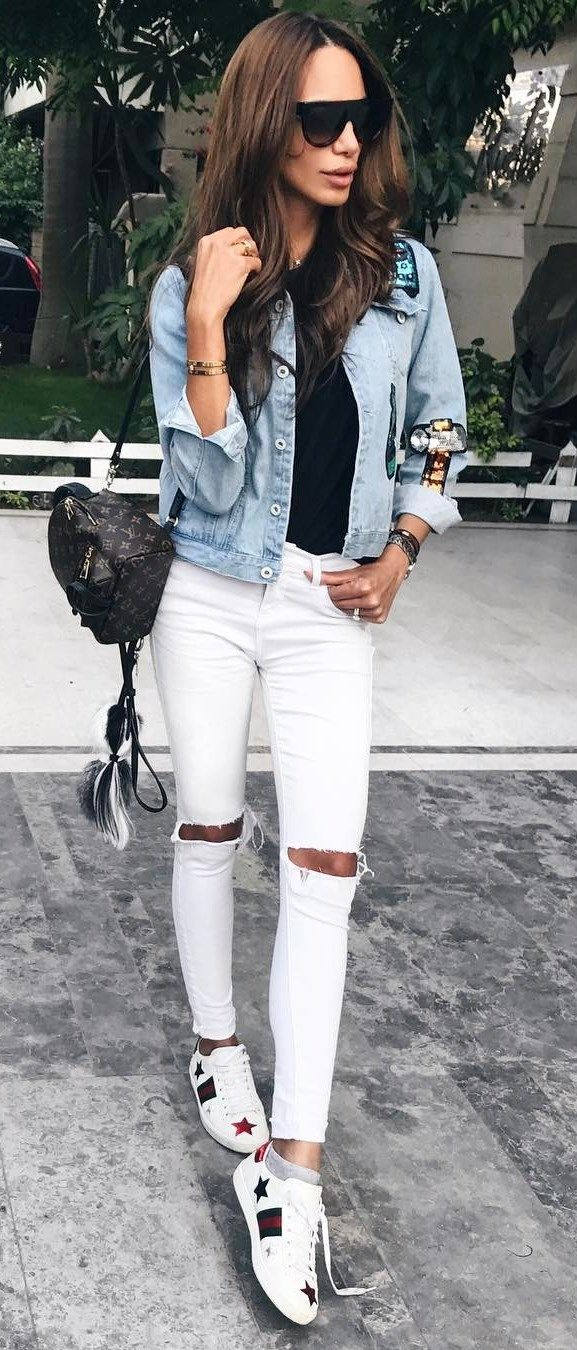 9b375b20a227 What Should Wear This Summer  cool outfit idea denim jacket + rips + top +  sneakers  casual style casual styles